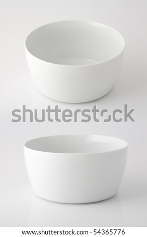 two points of view of a white china pot - stock photo