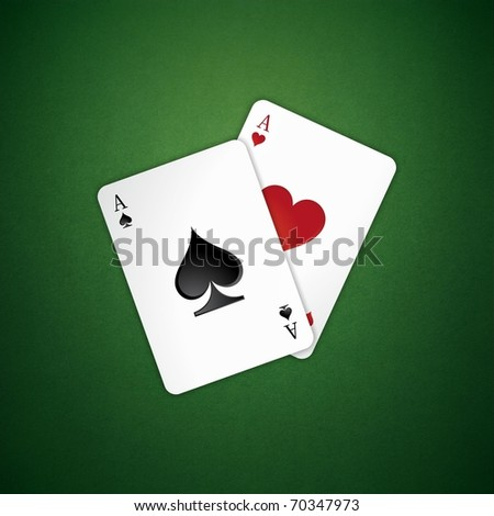 two poker card on the table - stock photo