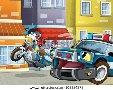 Two police friends on the street - keeping safe - guarding - talking - illustration for the children