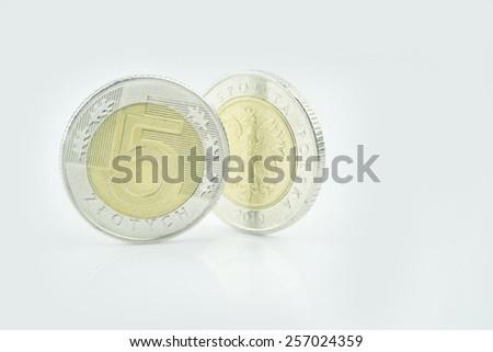Two Polish coins. - stock photo