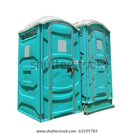 two portable toilets isolated on a white background - stock photo