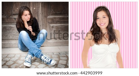 Two portraits of the same girl, left photo: sad and depressed, right photo: positive and happy - stock photo