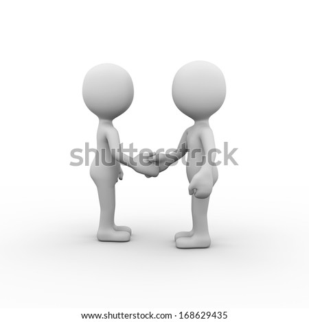 Two posing man shaking hands - stock photo