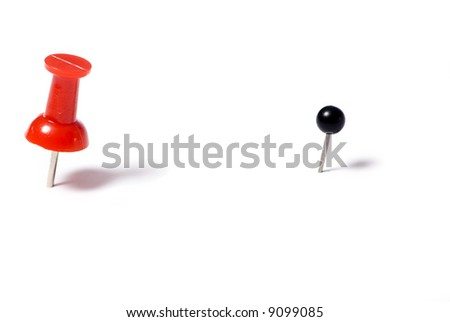 Two post it pins.... with a different point of view. - stock photo