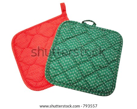 Two pot holders isolated - stock photo
