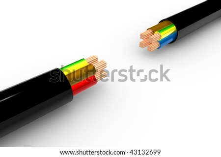 Two Powercable in 3D - white background
