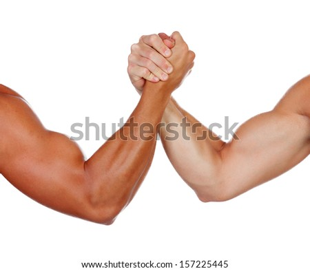 Two powerful men arm wrestling isolated on a white background - stock photo