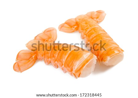 Two prawn tails isolated on white background - stock photo