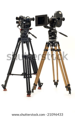 Two professional 35mm of the film-chamber on a white background. - stock photo
