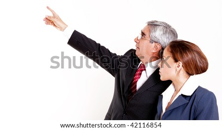 Two professionals on a white background. White space to insert text or design
