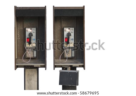Two public pay phones isolated on white background - stock photo
