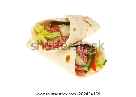 Two pulled pork and salad bread wraps isolated against white - stock photo