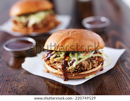 two pulled pork barbecue sandwiches - stock photo