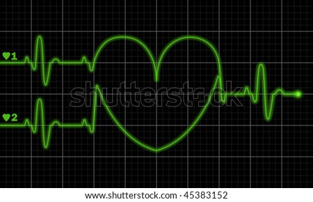 Two pulse traces forming valentine shape on electrocardiograph monitor. Also consider as child-bearing new life concept.
