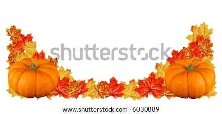 two pumpkins on fall foliage