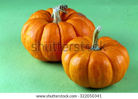 Two Pumpkins on green background with copy space.