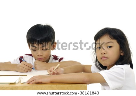 Two pupils in classroom-Elementary school - stock photo