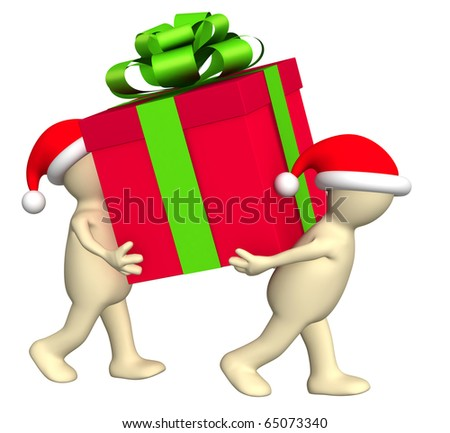 Two puppets with christmas gifts. Isolated over white - stock photo