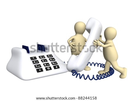 Two puppets with phone - isolated over white - stock photo