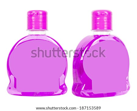 Two purple liquid soap plastic bottles with lilac caps isolated on white - stock photo