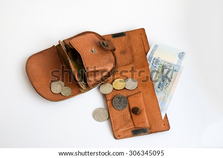Two purse with coins. Poverty in Russia. - stock photo