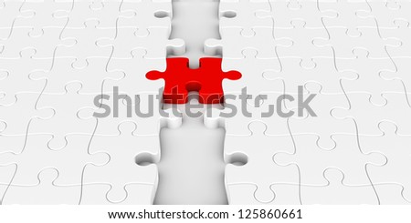 Two puzzle parts connected with red jigsaw piece, concept particular person