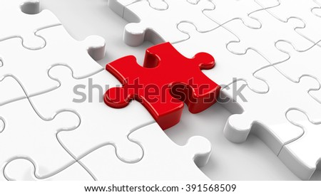 Two puzzle parts connected with red jigsaw piece, concept particular person, three-dimensional rendering - stock photo