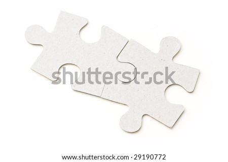 Two puzzle pieces - stock photo