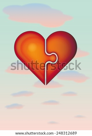 two puzzle pieces forming a heart - stock photo
