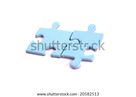 Two puzzles connected isolated on white