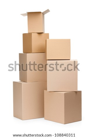 Two pyramids of boxes, isolated, white background - stock photo
