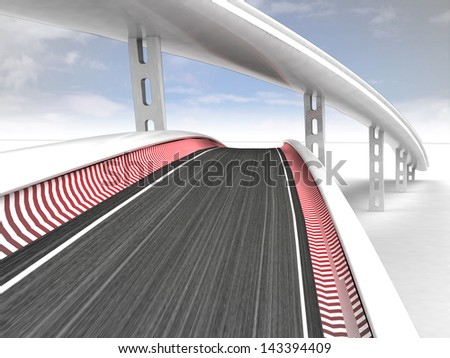 two race tracks on blue sky background illustration