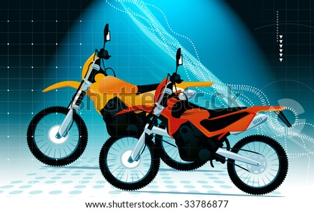 Two racing bikes in different colours - stock photo