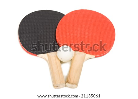 two rackets and ball for ping-pong on a white background closeup