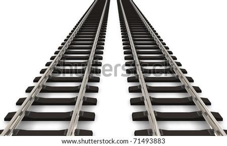 Two railroad tracks - stock photo