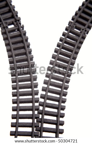 Two railway tracks on white