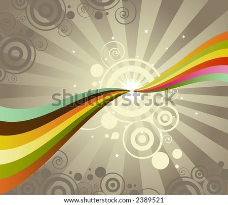 Two rainbows touch points, creating a bright burst - unusual colors and circular patterns give this a retro feel - stock photo