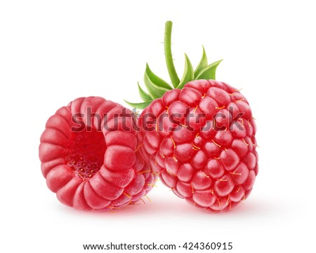 Two raspberry fruits isolated on white background with clipping path - stock photo