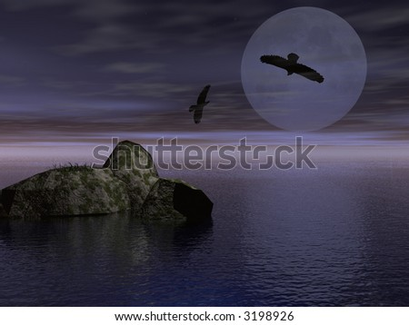 Two ravens in the night - digital illustration - stock photo