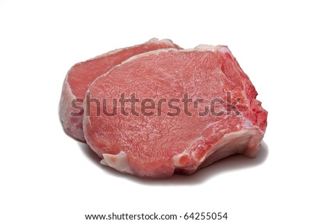Two raw fillet steaks isolated on white