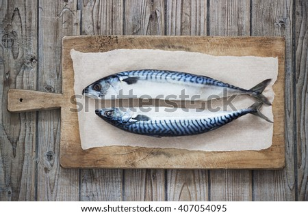 Two raw fresh mackerel fishes on a paper  old wooden table - stock photo