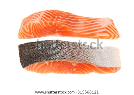 Two raw sea trout fillets isolated against white - stock photo