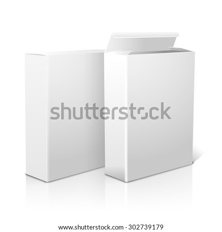 Two realistic white blank paper packages for cornflakes, muesli, cereals etc. Isolated on white background with reflection, for design and branding.  - stock photo