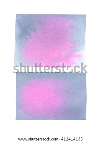 Two rectangles with abstract hand painted gray and pink stains, abstract backgrounds with grunge texture - stock photo