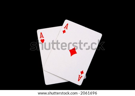 two red aces playing cards - stock photo