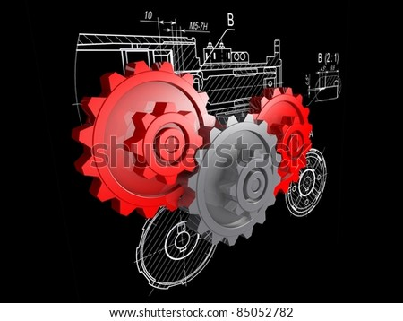 two red and one gray gears against a background of engineering drawings - stock photo