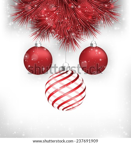 Two red and one spiral Christmas balls on red pine branches in snowfall on grayscale background - stock photo