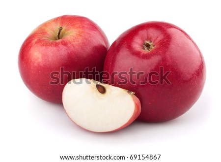 Two red apple and apple slice isolated on a white background - stock photo