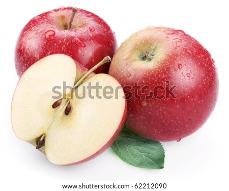 Two red apple with leaf and half of apple isolated on a white background.