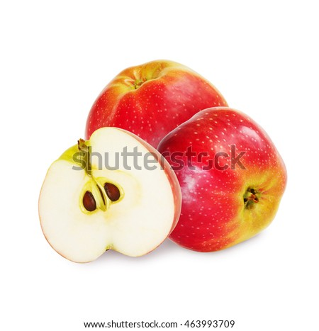 Two red apples and half over white background.
